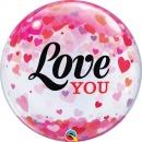 """Love You Confetti Hearts Bubble Balloon - 22""""/56 cm, Qualatex 54604, 1 piece"""