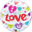 "I love you, Bubble Balloon - 22""/56 cm, Qualatex 46047, 1 piece"