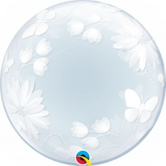 Balon Deco Bubble Fluturi si Flori - 20''/51 cm, Qualatex 11560