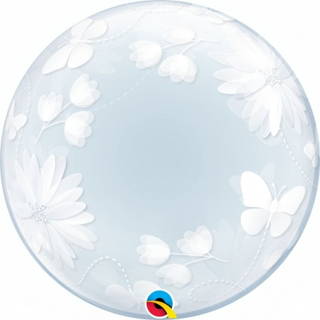 "Butterflies & Flowers Deco Bubble Balloon - 20""/51cm, Qualatex 11560, 1 piece"