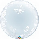 Balon Deco Bubble Fluturi si Trandafiri - 24''/61cm, Qualatex 29718