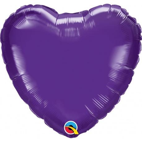 Balon folie Quartz Purple metalizat in forma de inima - 45 cm, Qualatex 12899, 1 bucata