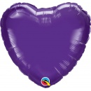 Balon folie Quartz Purple metalizat in forma de inima - 45 cm, Qualatex 12899, 1 bucata