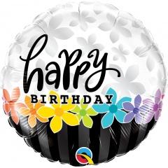 Birthday Band of Flowers Foil Balloon, 45 cm, Qualatex 49198