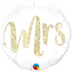 Mrs. Glitter Gold Foil Ballon - Mrs, Qualatex 57316