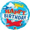 Balon Folie 45 cm Happy Birthday Avion - Qualatex 57796