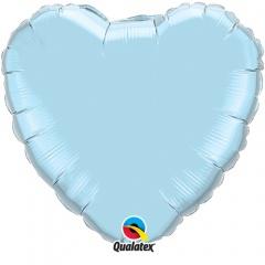 "Metallic Pearl Light Blue Heart Foil Balloon - 18""/45 cm, Qualatex 99346, 1 piece"
