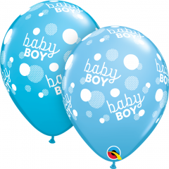 "Baloane latex 11""/28 cm Blue - Baby Boy, Qualatex 55988"