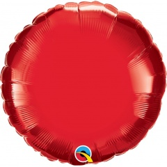 "Metallic Ruby Red Circle Foil Balloon - 18""/45 cm, Qualatex 22634, 1 piece"