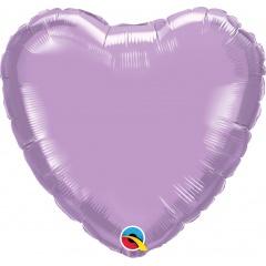 """Metallic Pearl Lavender Heart Shaped Foil Balloon - 18""""/45 cm, Qualatex 99348, 1 piece"""