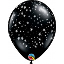 "11"" Stars-A-Round Latex Balloon, Onyx Black, Qualatex 39798"