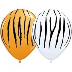 "11"" Round Orange & White Zebra & Tiger Stripes Assorted, Qualatex 11758"
