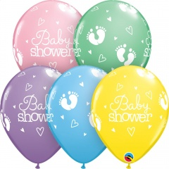 """11"""" Baby Shower Footprints and Hearts Round Pastel Latex Balloons, Qualatex 54163, 25 pk"""