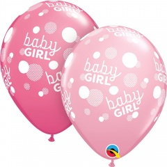 Baloane latex 11''/28 cm Baby Girl Dots-A-Round, Qualatex 55987