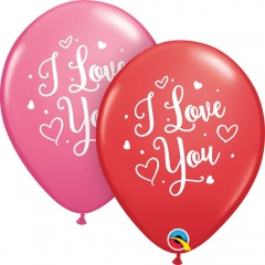 "11"" I love you, Hearts Round Latex Balloons, Qualatex 57055"