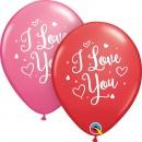 Baloane latex 11''/28 cm I love you, Inimi, Qualatex 57055