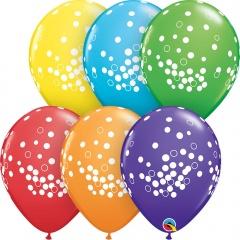 "11"" Round Bright Confetti Dots Latex Balloon Rainbow, Qualatex 52964"
