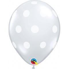 "11"" Round Diamond Clear Big Polka Dots Latex Balloon, Qualatex 81680"