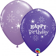 """11"""" Printed Latex Balloons, Birthday Sparkle Assorted, Qualatex 38857, Pack of 25 Pieces"""