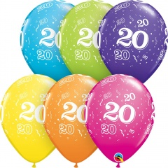 "11"" 20th Birthday Tropical Assorted Latex Balloons, Qualatex 45452"