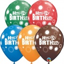 "11"" Happy Birthday Bold Dots Assorted latex balloons, Qualatex 44798"