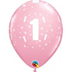 "Baloane latex 11""/28 cm - 1st Birthday pink, Qualatex 17821, Set 6 buc"