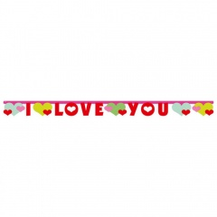 Banner decorativ pentru petrecere, I love you, 170 x 11 cm, Amscan 552603, 1 buc