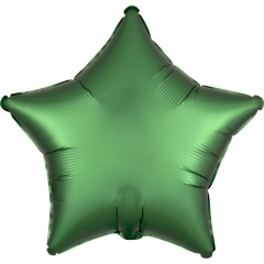 "18"" Satin Luxe Emerald Green Star Shaped Foil Balloon, Amscan 38588"