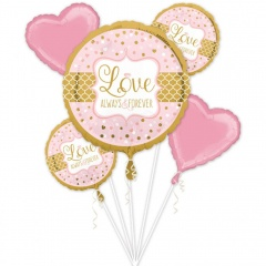 "Bouquet ""Love - Always and Forever "" Foil Balloons, Amscan 34456, set of 5 pieces"