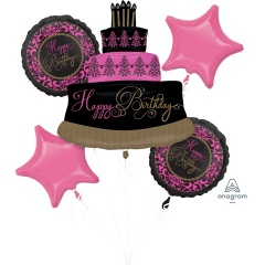 Buchet Baloane Happy Birthday, Amscan 32111, set 5 bucati