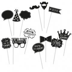 Party photo accessoires on stick, Amscan 397814, 13 pcs