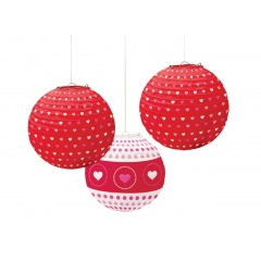 Printed Paper Lanterns Hearts, 24 cm, Amscan 240028, pack of 3 pieces