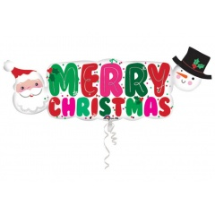 "SuperShape ""Merry Christmas Banner"" Foil Balloon, 104 x 40 cm, Amscan 33970"