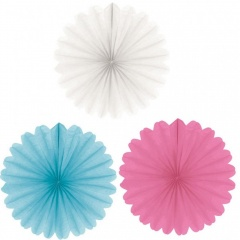 Decorations Fans Assorted, 15 cm, Amscan 998453, pack of 3 pieces