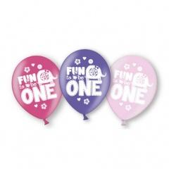 Baloane latex 28 cm inscriptionate Fun to be one - Girl, Amscan 999714, Set 6 buc