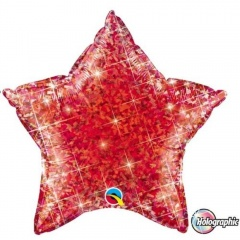 Foil Red Star Balloon Holographic, Qualatex 41273