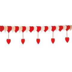 Red & White hearts party garland - 20/50 cm x 400 cm, Amscan 500212