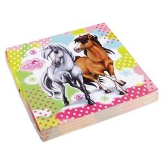 Servetele de masa Charming Horses pentru petrecere copii - 33 x 33 cm, Amscan 552344, Set 20 buc