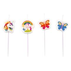 Lumanari aniversare pentru tort, figurine Unicorni, Amscan 9902109, Set 4 buc