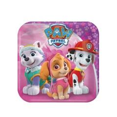Farfurii carton Paw Patrol Pink pentru petrecere copii - 18 cm, Amscan 541665-55, Set 8 buc