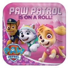 8 Plates square Paw Patrol Pink, 23 cm, Amscan 551665-55