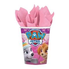Pahare carton Paw Patrol Pink pentru petrecere copii - 250 ml, Amscan 581665, Set 8 buc