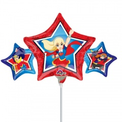Balon mini figurina Super Hero Girls - 22 x 43 cm, umflat + bat si rozeta, Amscan 33226