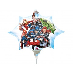 Balon Folie Mini Figurina Avengers Marvel Supereroii, 25 x 27 cm, umflat + bat si rozeta, Amscan 34658