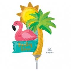 Balon mini figurina Let's Flamingle Party Time, umflat + bat si rozeta, Amscan 37118