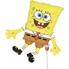 Balon mini figurina SpongeBob, umflat + bat si rozeta, Amscan 93989