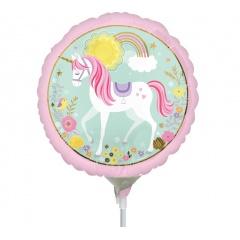 "9"" Magical Unicorn Mini Foil Balloon, on stick, Amscan 36853"