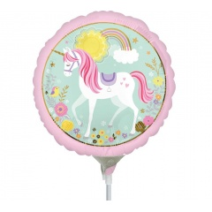 "Balon mini folie Magical Unicorn, 23cm/9"", umflat + bat si rozeta, Amscan 36853"