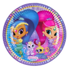 Farfurii carton Shimmer and Shine pentru petrecere copii - 23 cm, Amscan 9902152, Set 8 buc