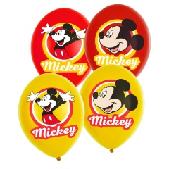 6 Latex Balloons Mickey Mouse 4 Colour, 28 cm, Amscan 9903666